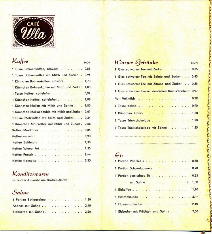 """DDR Museum - Museum: Objektdatenbank - """"Speisekarte Cafe Ulla"""" Copyright: DDR Museum, Berlin. Eine kommerzielle Nutzung des Bildes ist nicht erlaubt, but feel free to repin it!"""