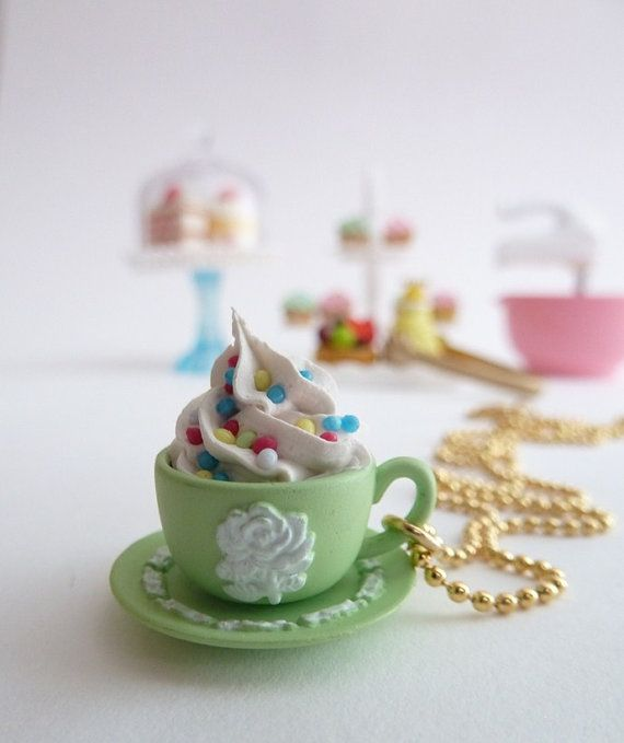 """tea cup necklace """" teacupcake """" with fake cupcake frosting alice in wonderland tea party green Wedgwood cup"""