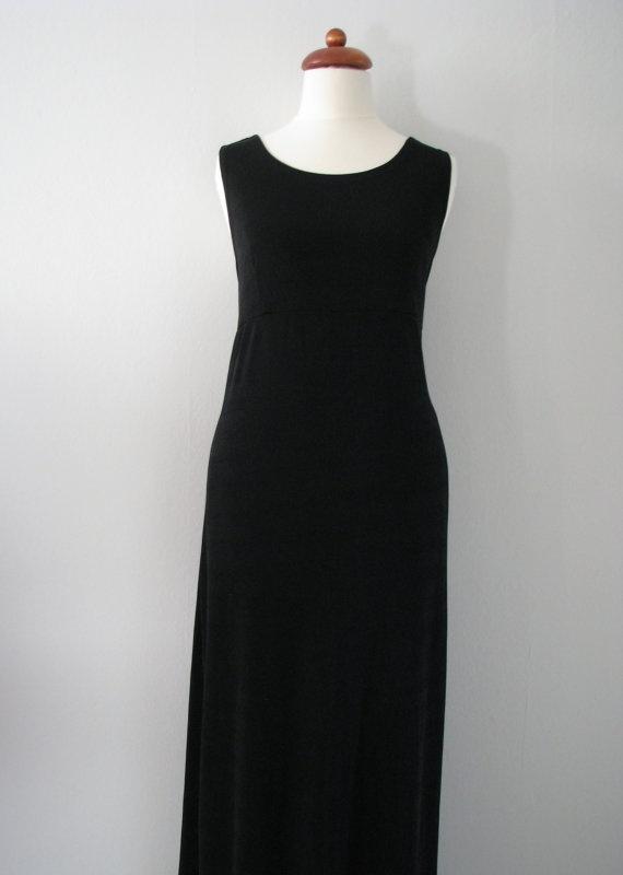 90s Plain Black Evening Gown w/ Empire Waistline