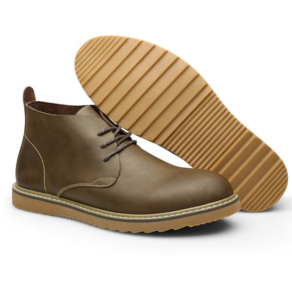 Men Genuine Leather Retro British Style Lace Up Ankle Desert Boots (74 BAM) ❤ liked on Polyvore featuring men's fashion, men's shoes, men's boots, mens brown leather lace up boots, mens black shoes, mens leather desert boots, mens brown leather shoes and mens leather boots