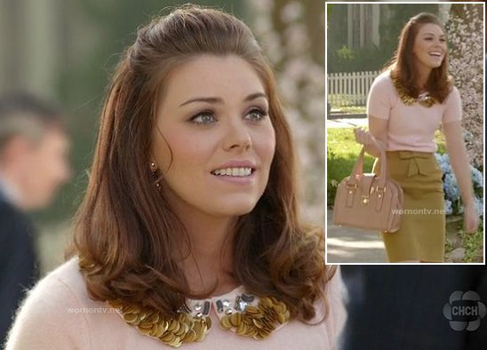 Annabeth's fluffy sweater with gold collar and mustard bow front skirt on Hart of Dixie.  Outfit details: http://wornontv.net/11473/