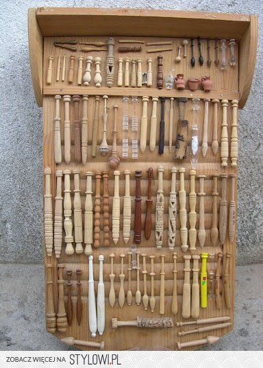 Beautiful Collection of bobbins for lace making.