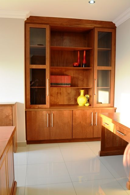 Classic Solid Mahogany Home Office with tables, storage and display units - designed, manufatured & installed by Ergo Designer Kitchens info@ergodesigns.co.za www.ergodesigns.co.za