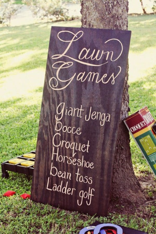 "Lawn Games- yes! Definitely want lawn games. But bean toss should be ""cornhole"" and ladder gold should be ""dingleberries"""