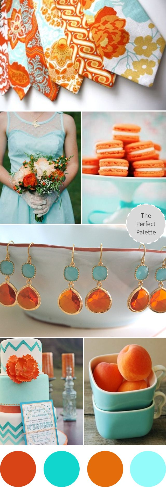 Wedding Colors I Love | Shades of Orange + Aqua! http://www.theperfectpalette.com/2013/08/wedding-colors-i-love-shades-of-orange.html