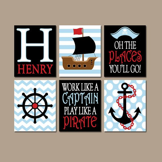 PIRATE Wall Art Canvas or Prints Baby Boy Nursery by TRMdesign
