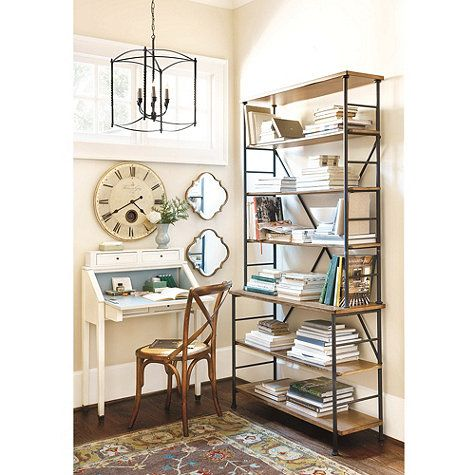 Sonoma Bookcase, metal with southwestern birch shelves, 84