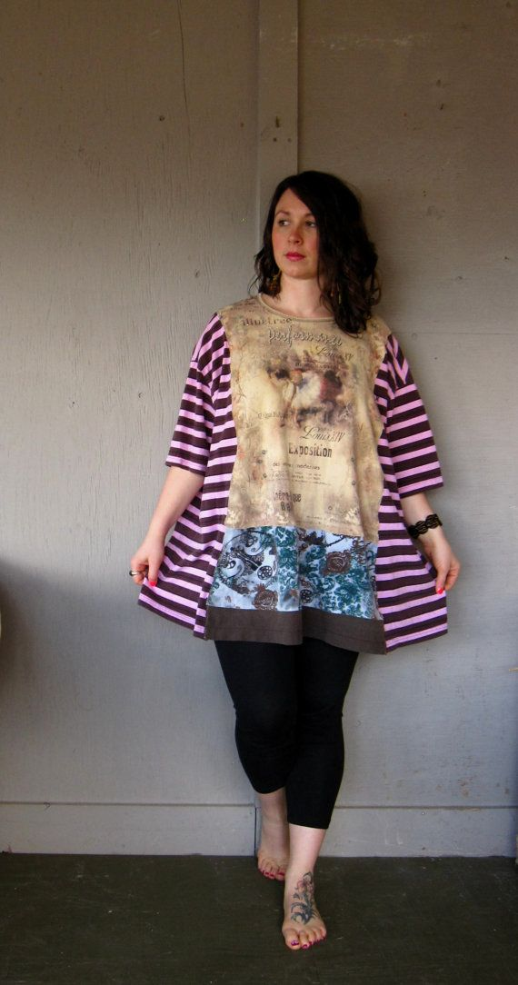 Funky Boho top upcycled clothing Lagenlook eco oversized poncho up cycled artsy  Tshirt Bohemian Tattered artsy dress one size