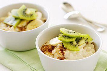 Soy rice pudding  with banana & kiwifruit