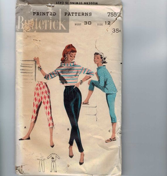1950s vintage sewing pattern butterick 7557 misses beatnik high waist pencil capri pants boxy
