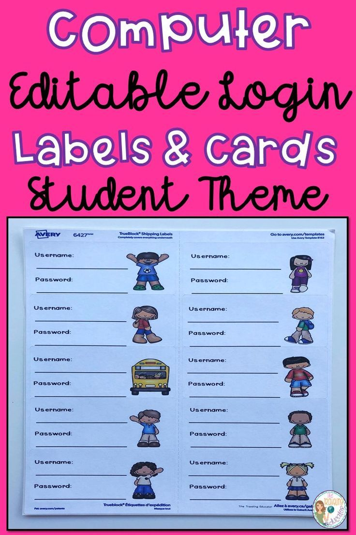 Computer Login Labels And Cards Student Theme Elementary