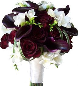 burgundy calla lily red rose white freesia wedding flower bouquet, bridal bouquet, wedding flowers, add pic source on comment and we will update it. www.myfloweraffair.com can create this beautiful wedding flower look.