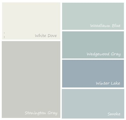 complimentary colors to stonington gray - kitchen and dining room with pantry door in one of the greens.
