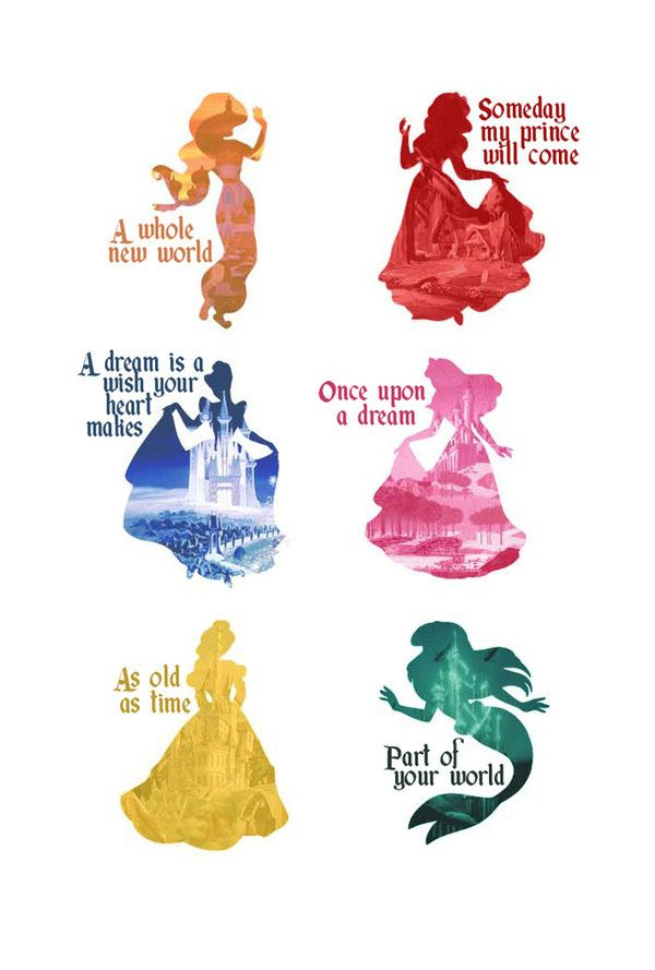 Disney Princesses Silhouettes. Their songs with their castles.