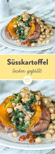 Gefüllte Süßkartoffel mit Kichererbsen und Spinat   – vegetarische Rezepte