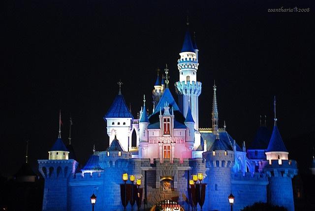 Glow in the dar Disney castle  #HK #Disneyland