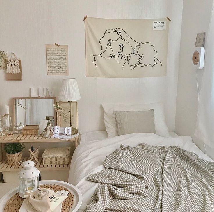 neutral bedroom inspo   Aesthetic bedroom, Dorm room walls ...