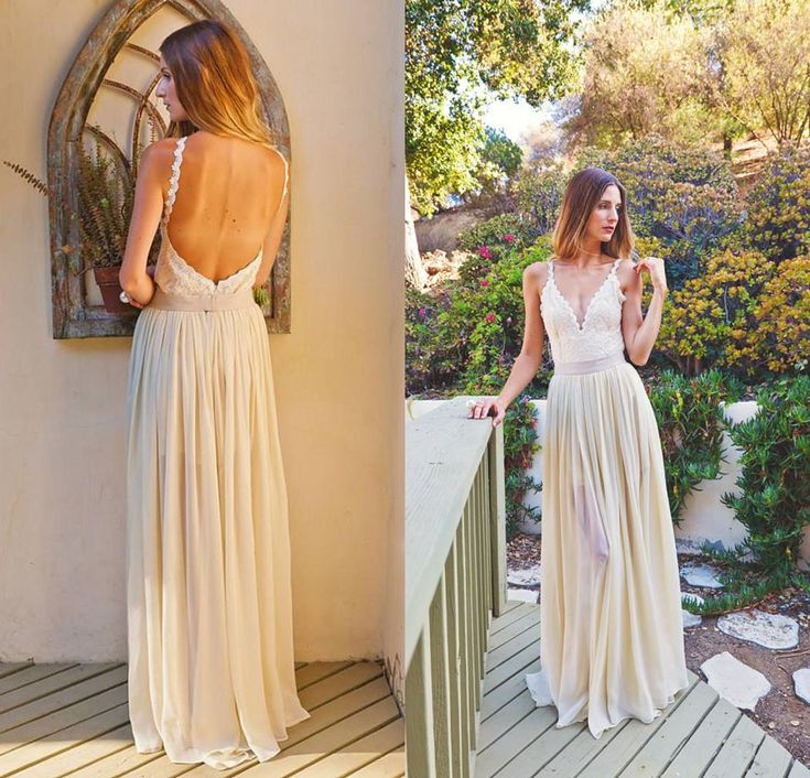 Simple Informal Wedding Dress 2015 From Eiffelbride With Sexy Spaghetti Straps V Neck And Glamorous Backless A Line Chiffon Bridal Dresses Wedding Dress Hire Wedding Dress Outlet From Eiffelbride, $95.48| Dhgate.Com