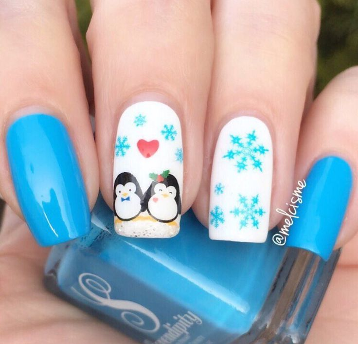 Cute Penguin in Love Nails by @melcisme ✨ She used our light blue nail polish •Vitamin Sea•  Available on serendipitypolish.com