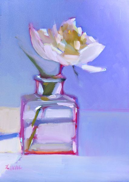'First Peony' – 6″x6″ Original Oil Floral Still Life of White Peony in Glass Vase by New York Fine Artist Maryann Lucas