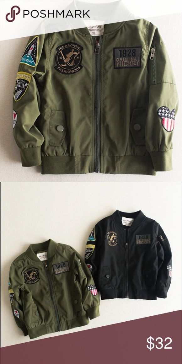 Boys bomber jacket Brand new windbreaker bomber style jacket with patches. This item is in transit 📦 it will be a delayed shipping. No trades! Also available in black Jackets & Coats