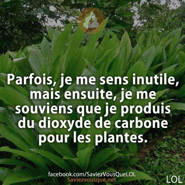 Parfois, je me sens inutile, mais ensuite, je me souviens que je produis du dioxyde de carbone pour les plantes.   Saviez Vous Que?