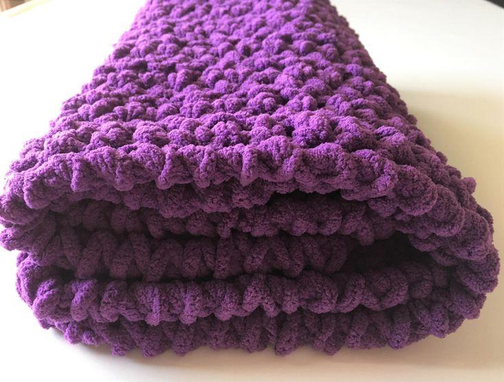 Purple Baby Blanket, Crochet Baby Blanket, Purple Blanket, Car Seat Blanket,  Gender Neutral, Handmade Blanket, Ready to Ship, Free Shipping by CraftCreationsbyRose on Etsy