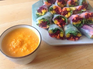 delish in a dish: Summer Rolls with Carrot Dip