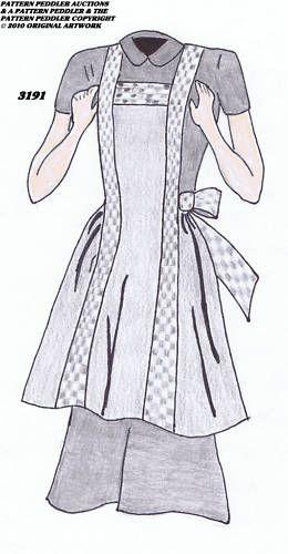 Vintage Womens Home Companion 3191 Bib Apron Fabric Material Sewing Sew Pattern | eBay
