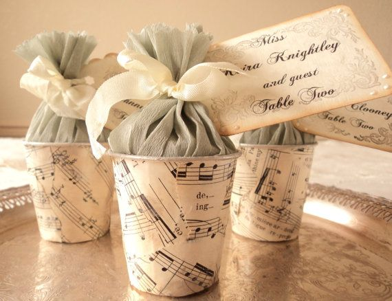 Vintage Sheet Music Wedding Favor Cups