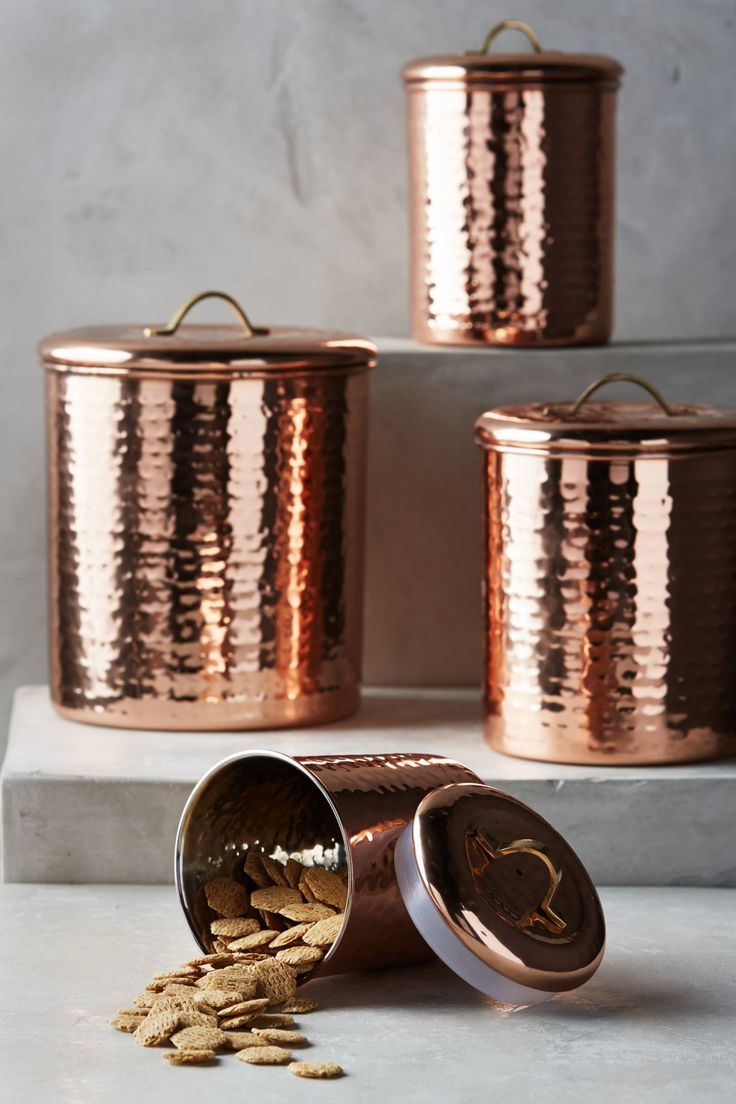 Tuscan old world drake design medium berry kitchen canisters set of 3 - Copper Plated Canister Set