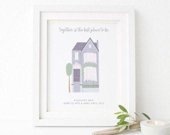 Casa familiar personalizado impresión - impresión de Home Sweet Home - personalizado casa impresión - regalo de inauguración de la casa - casa regalo - impresión de la casa de la familia