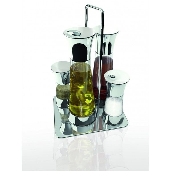 ACQUA - zestaw do przypraw - BUGATTI || A handy table condiment set consists of dispensers designed for #salt, #pepper, #oil and #vinegar.