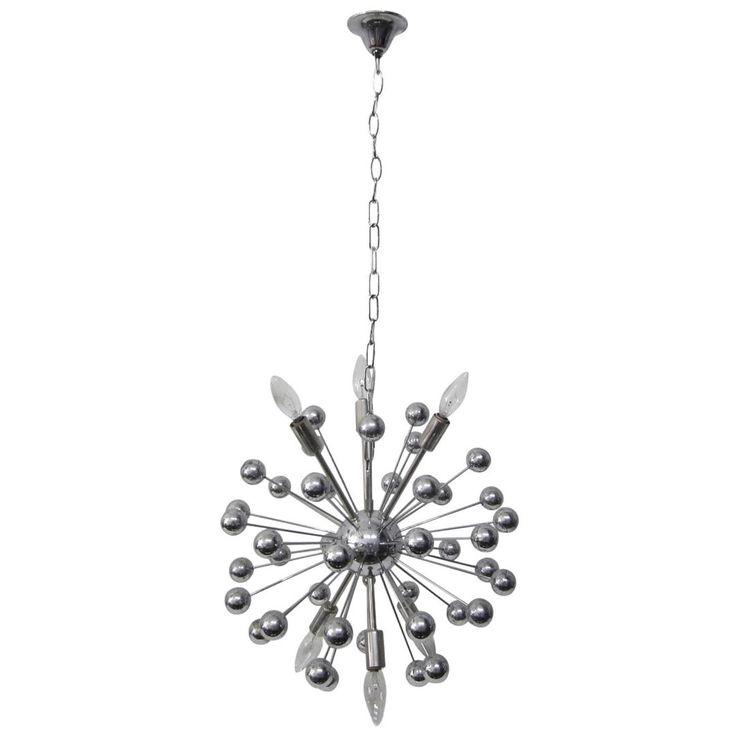 Italian Multi-Spherical Chrome Sputnik Chandelier
