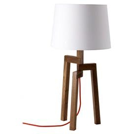 Bring a touch of modern farmhouse style to your d�cor with this eye-catching essential, an enviable addition to your well-appointed home.Product:   Table lamp   Construction Material:  Walnut veneers and fabricColor: White, brown and red Features: 80 Cloth-covered cord Accommodates: (1) 100 Watt incandescent bulb - not included   Dimensions:   28 H x 13.5 Diameter