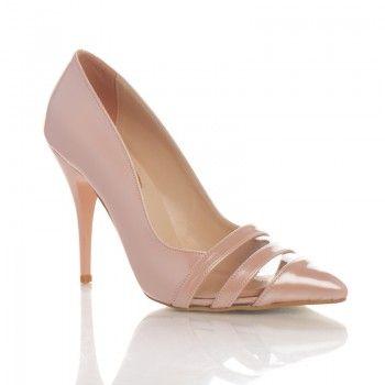 Pantofi Balgiza Acesti pantofi feminini si cocheti de vara sunt deosebit de comozi datorita tocului de 10 cm. Acesti pantofi au la varf doua dungi confectionate din material transparent,.care contrasteaza frumos cu nuanta de roz-pal. Puteti asorta acesti pantofi la o rochie alba pana la genunchi si o geanta roz.
