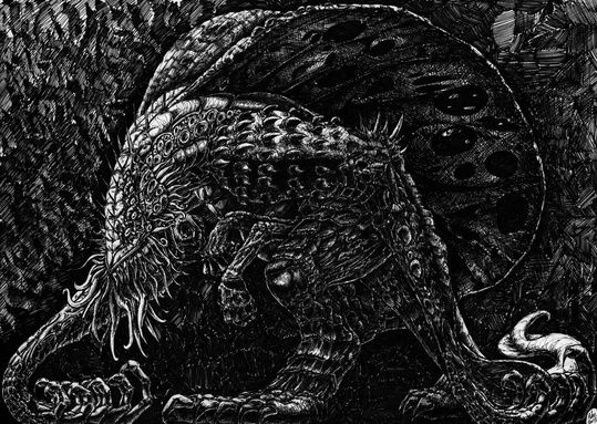"""Cthulu Side"" by Peter Kneeshaw on #INPRNT - #fine art #print #poster #art #ink #ink drawing #drawing #pen and ink #pen"