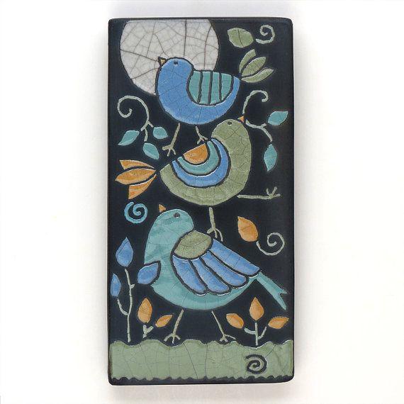 BirdsCeramic tileWhimsical handmade wall art home door DavisVachon, $68.00