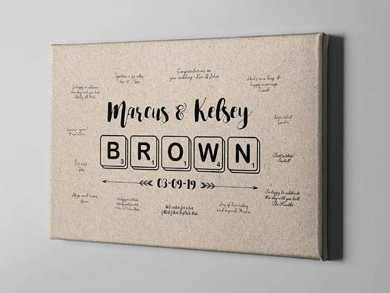 SALE 50% Off Canvas Guest Book Scrabble Last Name GuestBook