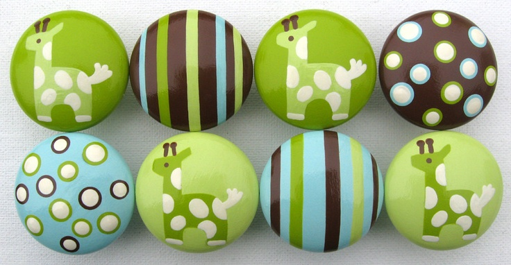 Hand Painted Drawer Knobs - Giraffes, Polka Dots and Stripes in Lime Green, Pale Green, Blue, Chocolate Brown and Vanilla - Set of 8. $64.00, via Etsy.