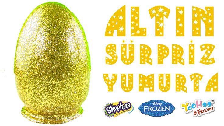 Altın Renkli DEV Sürpriz Yumurta Açma Golden Surprise Egg Frozen Shopkin...