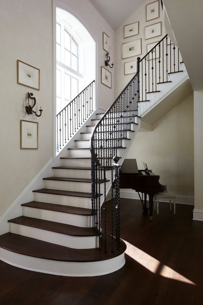 Rod Iron Railing Staircase Traditional With Arch Window Black Banister  Framed Wall Art Awesome Ideas