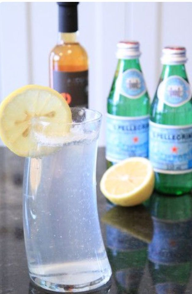 A drink for gut health. It's a 10-12 oz bottle of San Pellegrino Sparkling Mineral Water, an organic lemon, and 2-4 tbsp of organic apple cider vinegar.  health benefits: This drink contributes lots of vitamins and minerals such as C, B6, A, E, niacin, thiamine, riboflavin, folate, iron, pantothenic acid, copper, calcium, magnesium, potassium, zinc, phosphorus, antioxidants, antimicrobials, and probiotics.