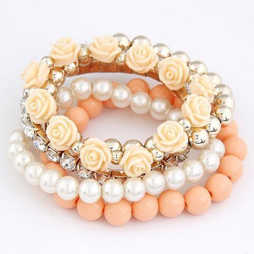 Kymyad Bracelets for Women Charm Bracelets & Bangles Summer Jewelry Beads Flower Bijoux Elastic Pulseira Feminina Pulseras Mujer