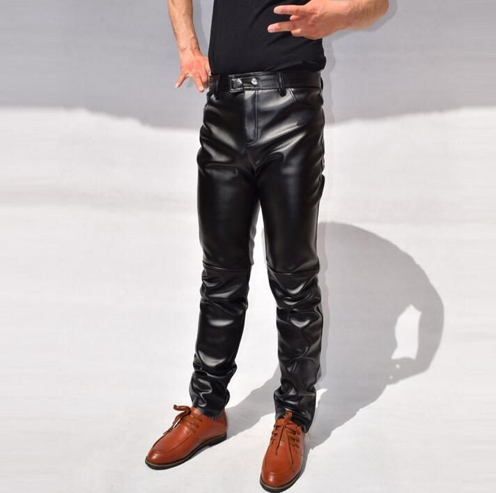 Slim male leather pants mens punk mens leather trousers tight male zipper personalized patchwork motorcycle feet pants black