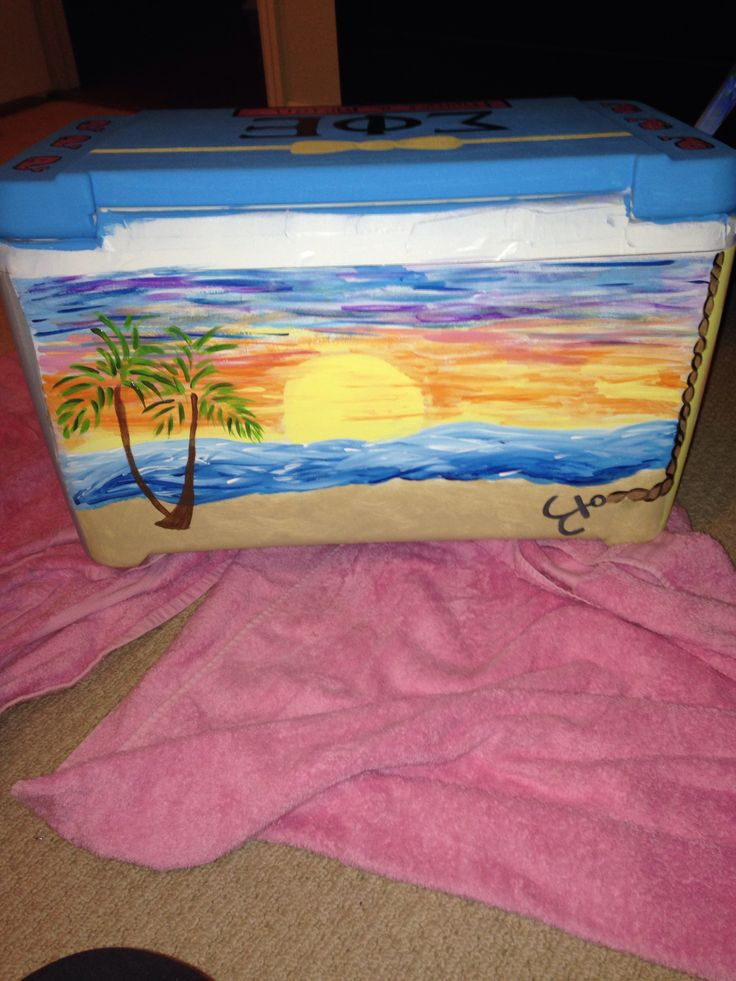 Beach /sunset painting on cooler