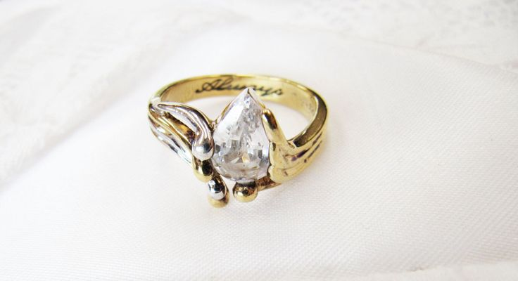 Vintage Gold Sterling Silver Always Ring, Bradford Gold Exchange Ring, Pear Tear Shaped CZ Cubic Zirconia Stone Ring by BygoneAllure on Etsy https://www.etsy.com/au/listing/494532713/vintage-gold-sterling-silver-always-ring