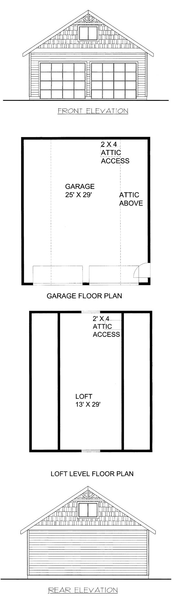 #2Car #Garage Plan 85807 measures 26 feet by 30 feet, with 780 square feet of garage space and a loft with 377 square feet.