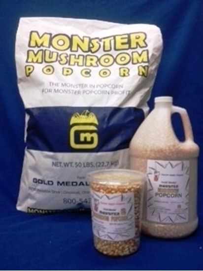 Gold Medal's Monster Mushroom Popcorn Kernels. KOSHER U. Colossal hybrid kernels - perfect for making caramel or kettle corn.