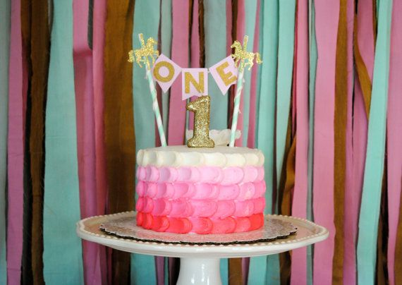 The Original Carousel Gold and Mint Cake Bunting Topper.  1st Birthday Cake…